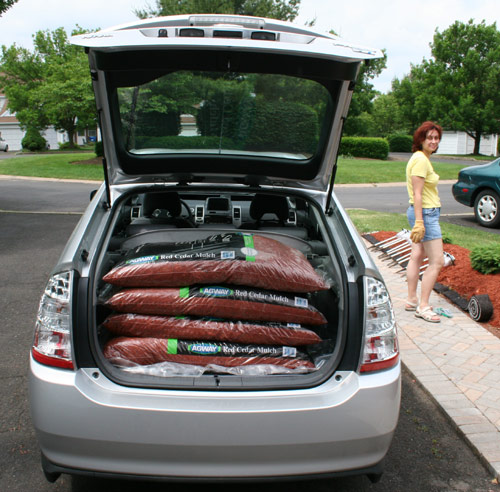 12 cubic feet of red cedar mulch in a Toyota Prius