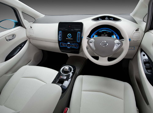 Interior of Nissan LEAF Electrical Vehicle