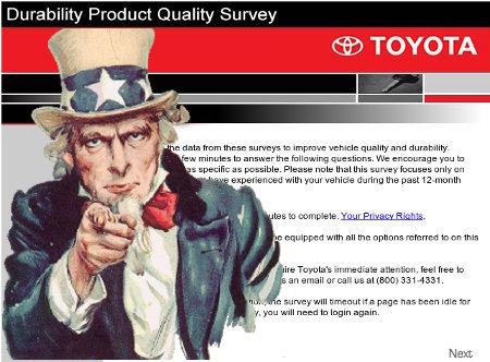 Toyota's Durability Product Quality Survey. Uncle Sam NOT included